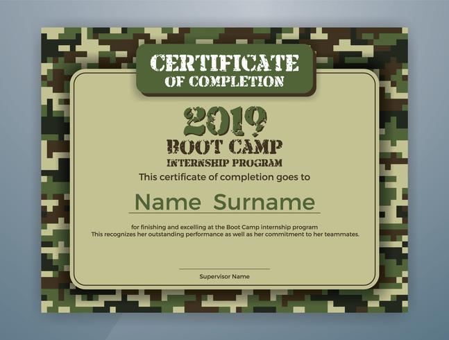 Progettazione del modello di certificato del programma di stage Boot Camp
