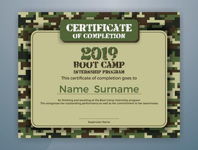 Boot Camp Internship Program Certificate Template Design