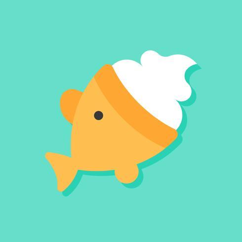 Illustrazione di vettore del gelato a forma di pesce, icona di stile piano di dolci