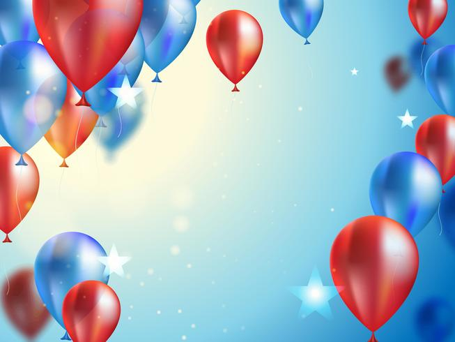 Horizontal banner for celebration with balloons