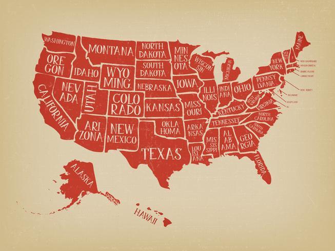 Poster vintage mappa americana con nomi degli Stati vettore