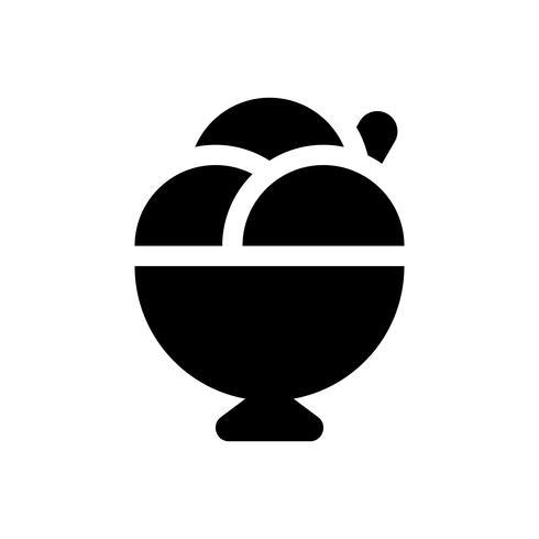 Illustrazione di vettore della tazza del gelato, icona solida di stile dei dolci