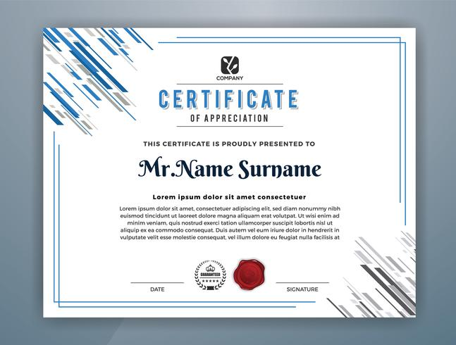 Multipurpose Professional Certificate Template Design. Abstract Blue Vector illustration