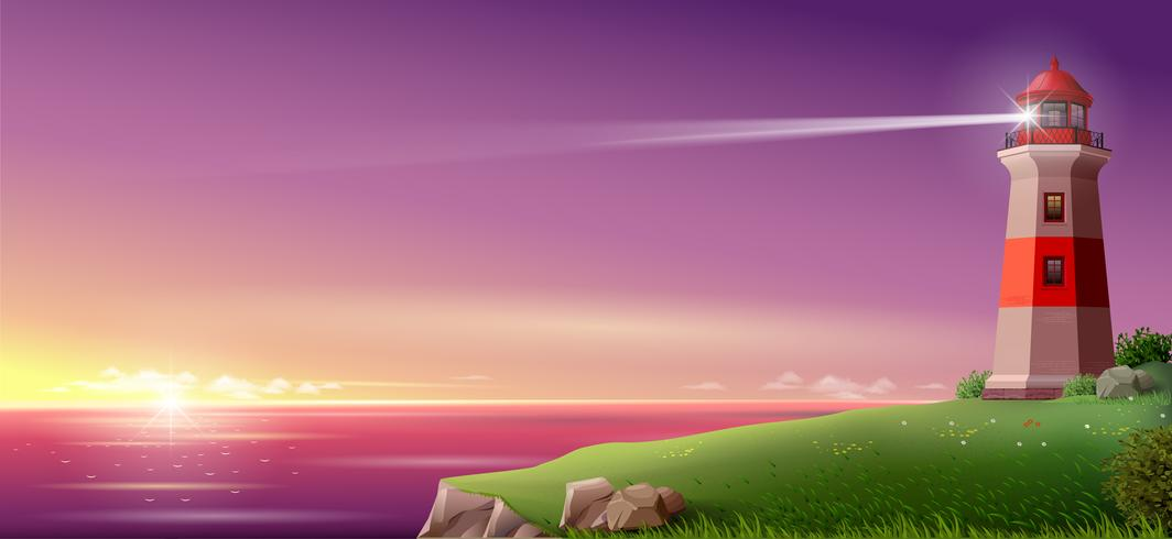 Realistic lighthouse on a green hill above the sea on night. Wide banner or Wallpaper. Vector illustration.