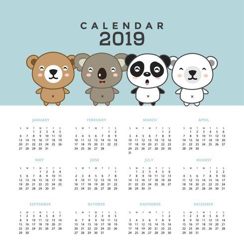 Calendar 2019 with cute bears.  vector