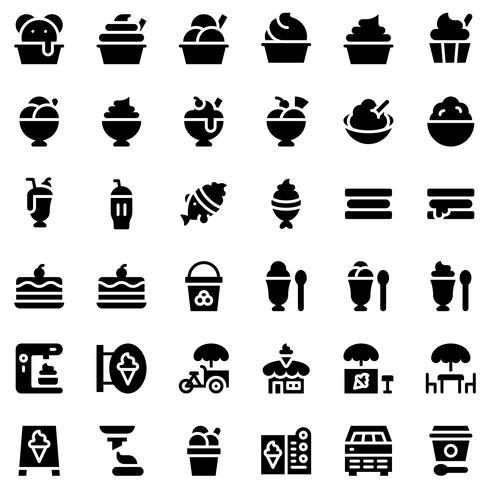 Conjunto de iconos de vector de helado, estilo sólido