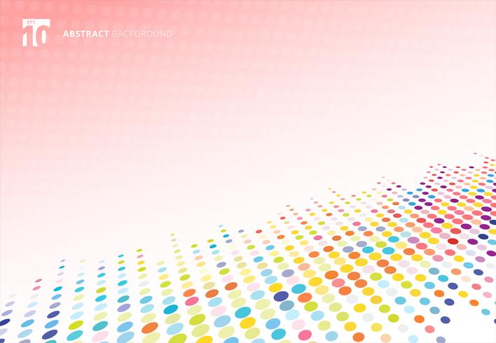 Abstract colorful halftone texture dots pattern perspective on pink polka dot  background. vector