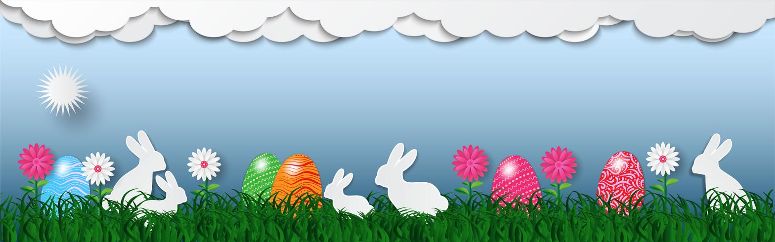 Banner of easter holiday background with eggs on green grass and white rabbit, vector illustration