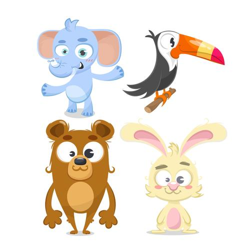 Set di animali, coniglio, orso, elefante e tucano.