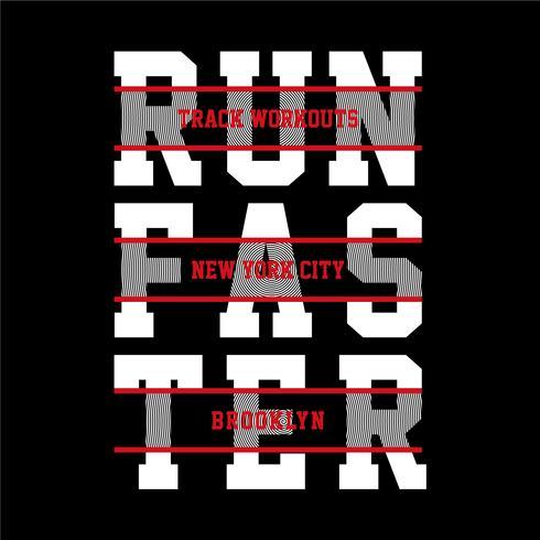 Atletische lopende sporttypografie, t-shirtgrafiek