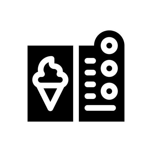 Illustrazione di vettore del menu del gelato, icona solida di stile