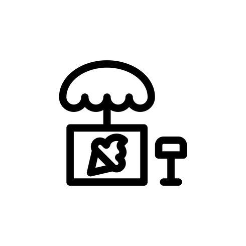 Ilustración de vector de puesto de helado, icono de estilo de línea