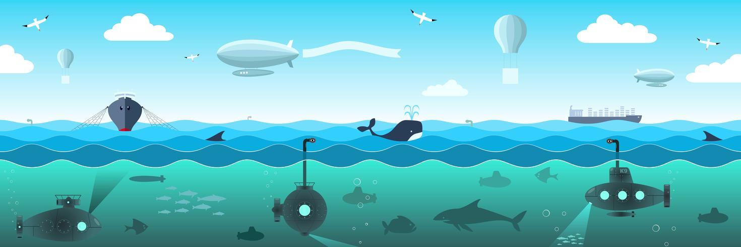 Open sea view from the submarines, fish, ships, airships vector