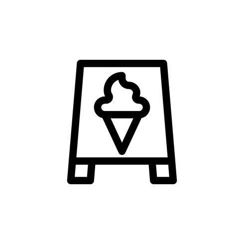 Ilustración de vector de signo de helado, icono de estilo de línea