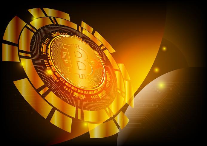 Antecedentes de la moneda digital Bitcoin para tecnología, negocios y marketing en línea, ilustración vectorial