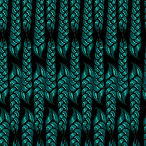seamless pattern of braided braids of green color. Vector illustration