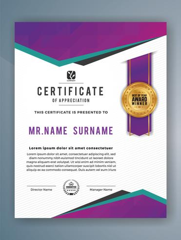 Multipurpose Professional Certificate Template Design. Abstract Purple Vector illustration