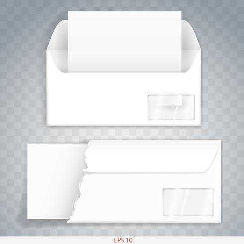Paper or cardboard envelope indoor and outdoor. Template. Vector graphics