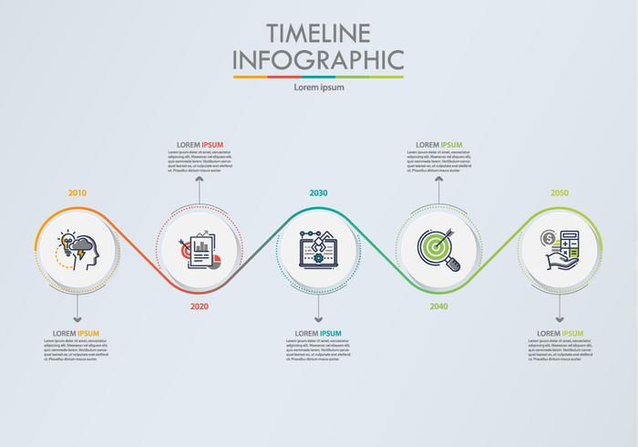 Presentation företags infografisk mall med 5 alternativ.
