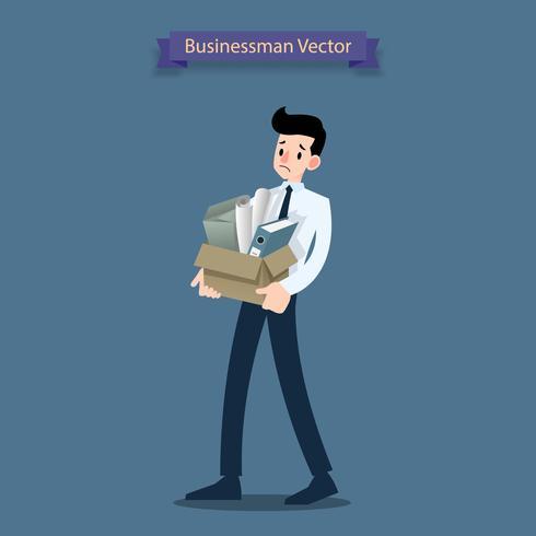 Besvikelse affärsman står och bär sin papplåda med personliga tillhörigheter vektor