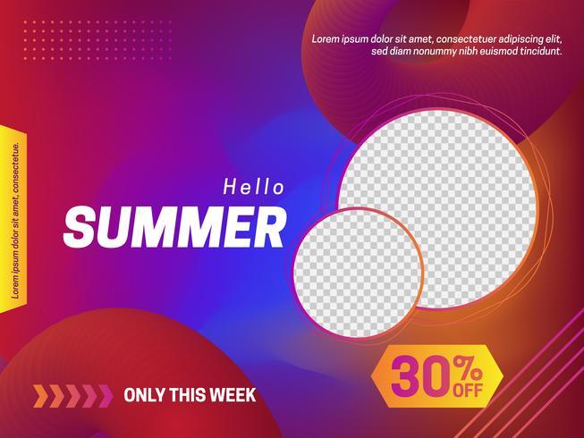 Cartel de verano en estilo degradado.