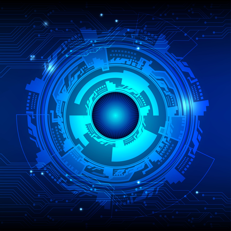 Blue Technology: Dark Blue Color Vector Background. Digital Technology