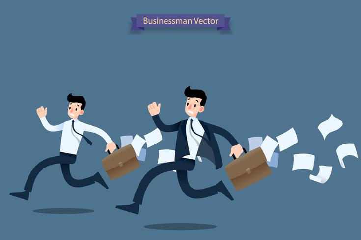 Businessman running rush in a hurry by work  late with suitcase and falling papers behind and feel very busy. vector