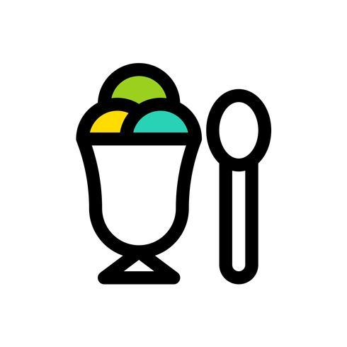 Vetor de copo de sorvete, contorno de ícones preenchidos doces editável
