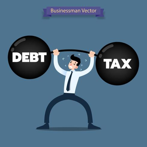 Businessman  lifting a heavy dumbbell of debt and tax very hard.