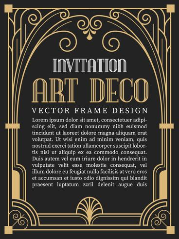 Estilo de art deco de quadro vintage de luxo. ilustração vetorial