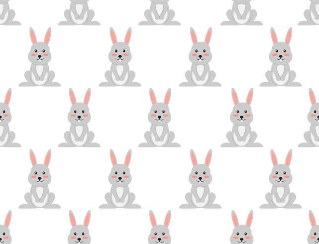 Nahtloses Muster des netten Karikaturkaninchens auf weißem Hintergrund - Vector Illustration