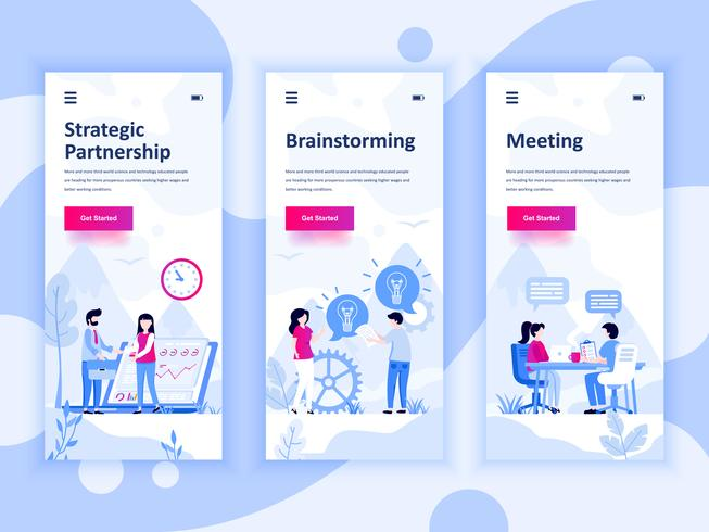 Set di kit di interfaccia utente per schermi onboarding per Partnership, Brainstorming, Meeting, concept di modelli di app per dispositivi mobili. UX moderno, schermo dell'interfaccia utente per sito web mobile o reattivo. Illustrazione vettoriale