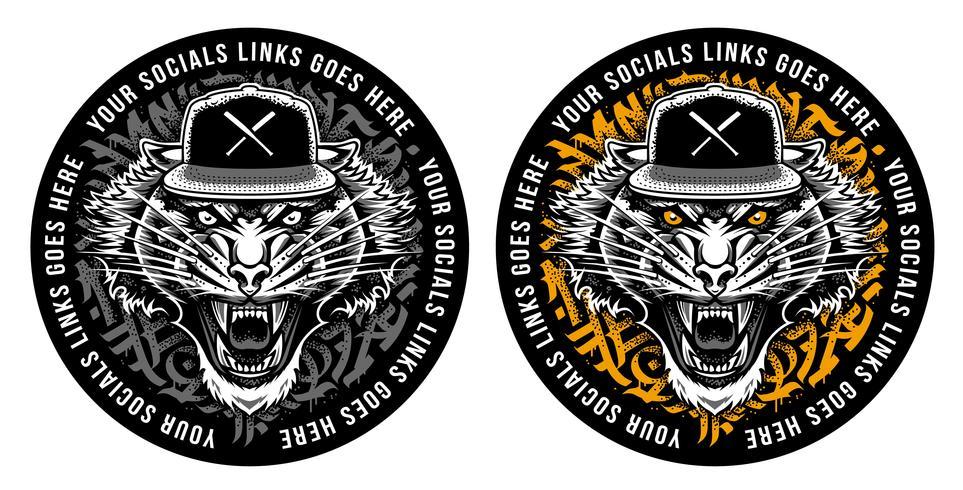Tigre rugiente en diseño de la etiqueta engomada del Snapback
