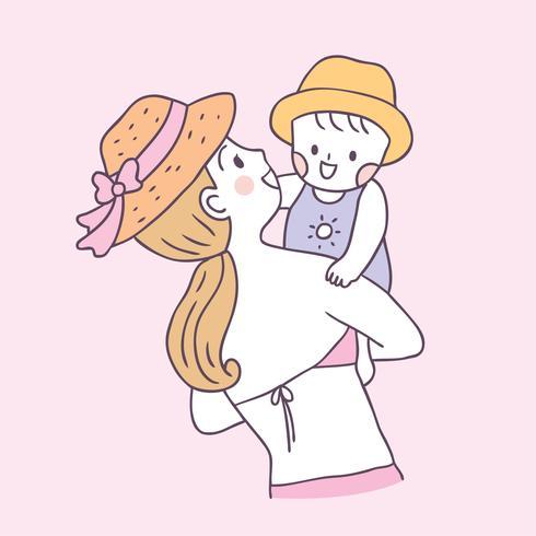 Vector lindo de la madre y del bebé del verano de la historieta.