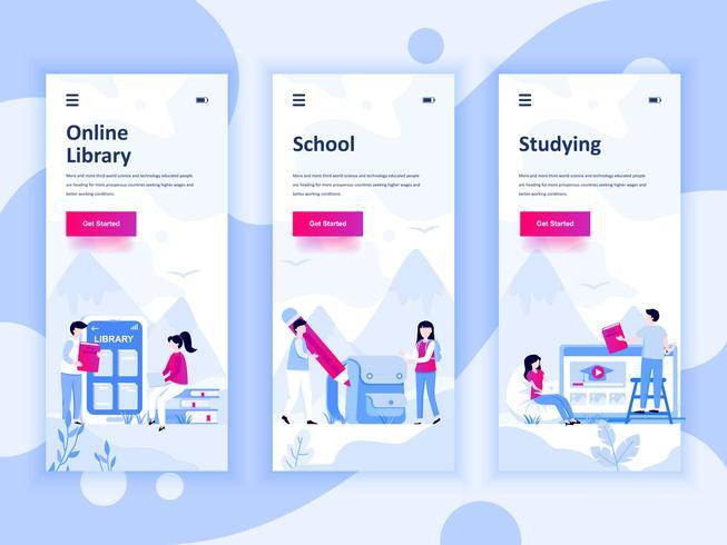 Satz von Onboarding-Bildschirmen User Interface Kit für Bildung, Schule, Studium, mobile App-Vorlagen-Konzept. Moderner UX-, UI-Bildschirm für mobile oder reaktionsschnelle Websites. Vektor-illustration