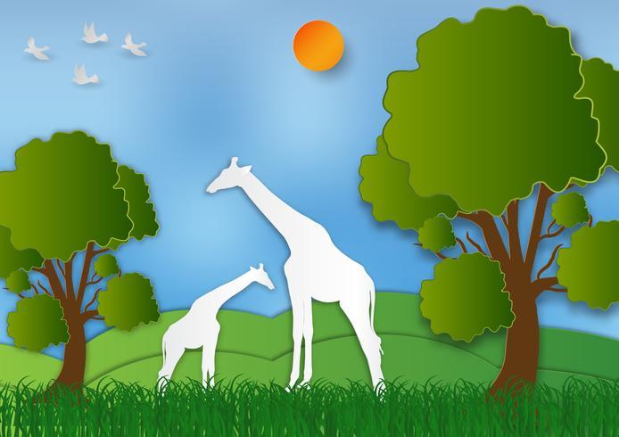 Lo stile di arte di carta di paesaggio con la giraffa e l'albero in natura conservano il mondo e l'ecologia dell'estratto fondo dell'idea, illustrazione di vettore