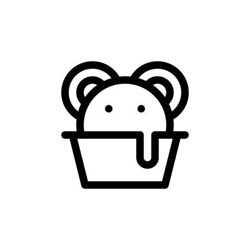 Ilustración de vector de taza de helado, icono de estilo de línea de dulces