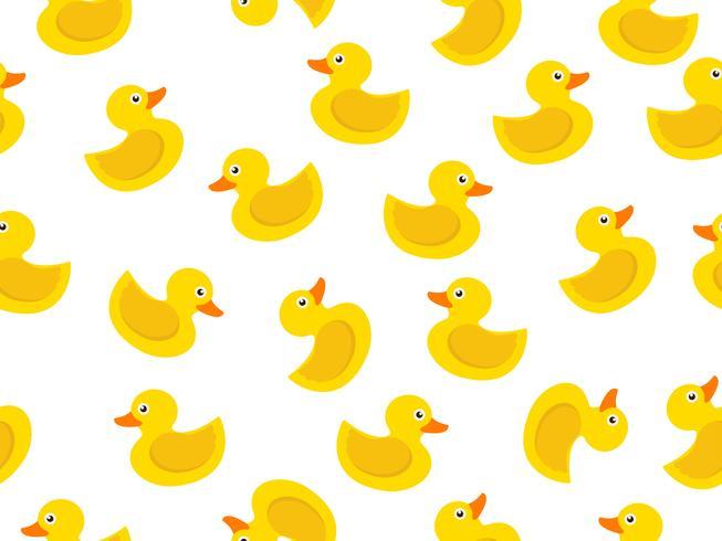 patrón sin costuras de pato de goma amarillo sobre fondo blanco vector