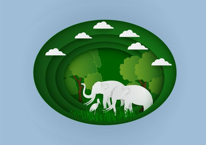Paper carve to Landscape with elephant and tree In nature ecology idea abstract background, vector illustration