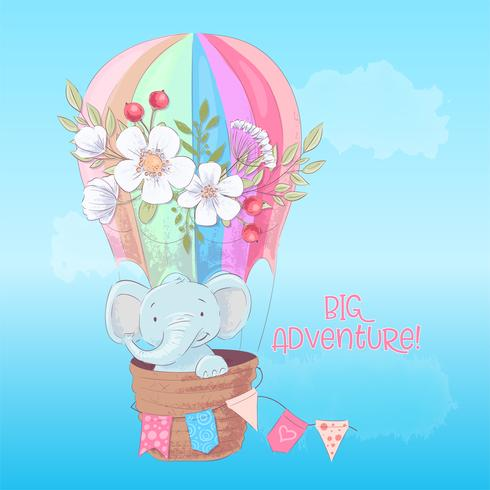 Postcard poster of a cute elephant in a balloon with flowers in cartoon style. Hand drawing.