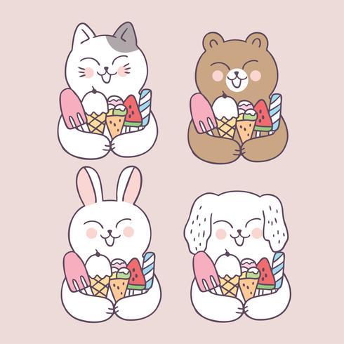 Cartone animato carino estate animali e gelato vettoriale.