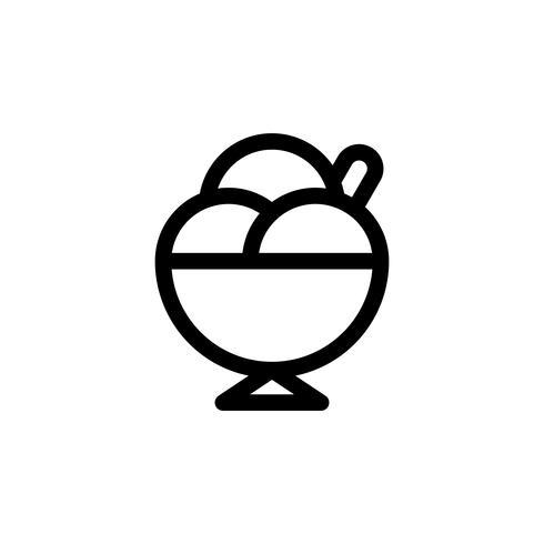Ice cream cup vectorillustratie, snoep lijn stijl icoon
