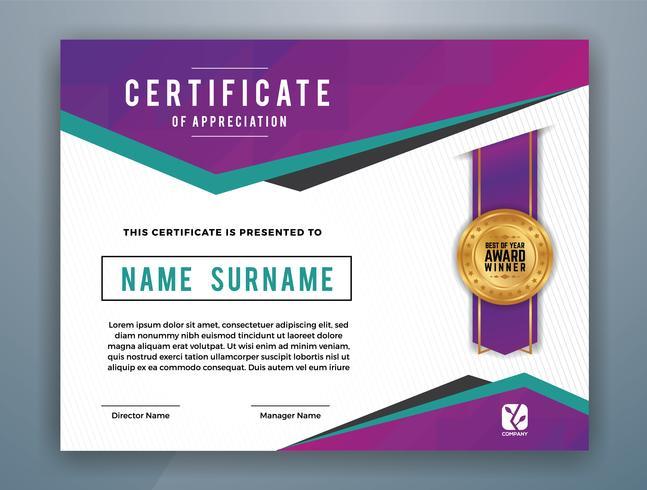 Diseño de plantilla de certificado profesional multiusos. Resumen ilustración vectorial púrpura