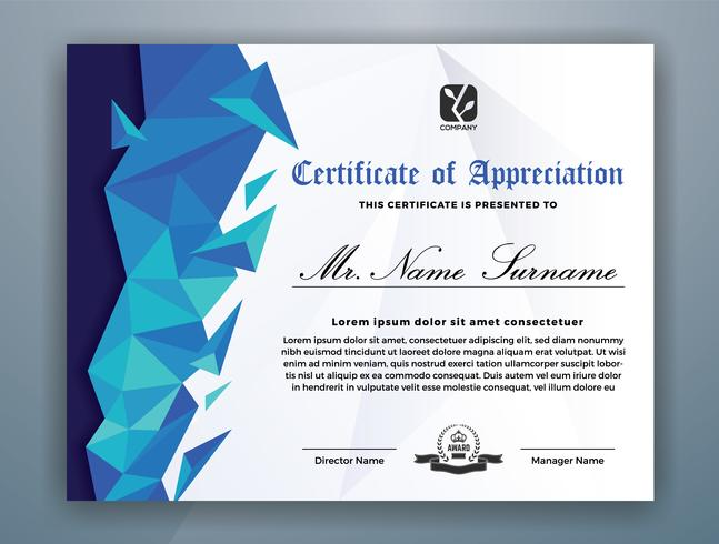 Conception de modèle de certificat professionnel polyvalent. Illustration vectorielle abstrait bleu polygone