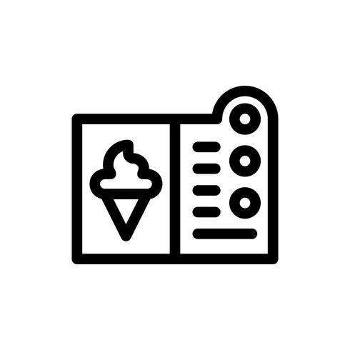 Ilustración de vector de menú de helado, icono de estilo de línea
