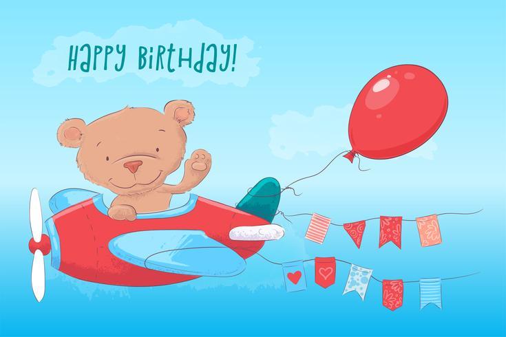 Cartel de la postal lindo oso de peluche en el avión en estilo de dibujos animados. Dibujo a mano.