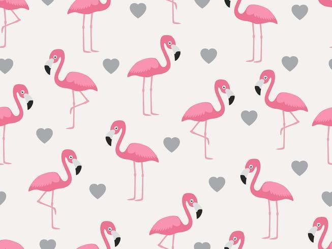 Padrão sem emenda de flamingo com coração no fundo pastel - ilustração vetorial