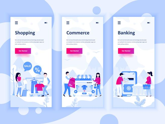 Set of onboarding screens user interface kit for Shopping, E-commerce, Banking, mobile app templates concept. Modern UX, UI screen for mobile or responsive web site. Vector illustration.