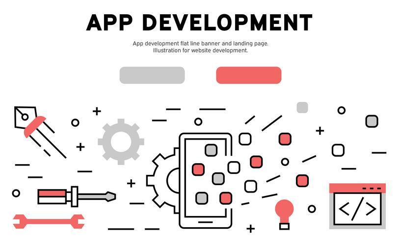 Desarrollo de aplicaciones de línea plana banner y landing page. Ilustración para el desarrollo del sitio web.