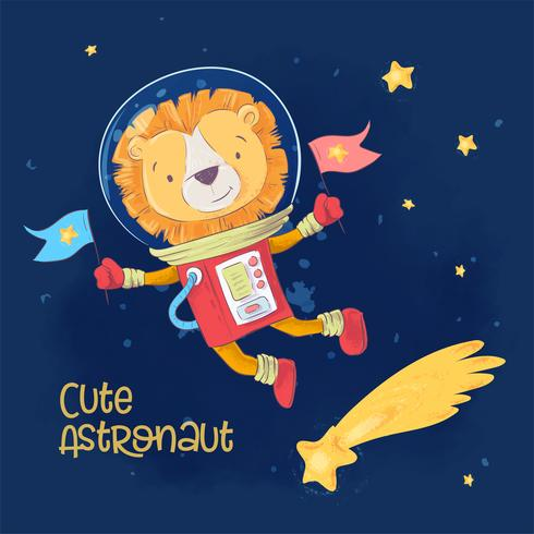Cartel de la postal del astronauta lindo León en el espacio con constelaciones y estrellas en estilo de dibujos animados. Dibujo a mano.